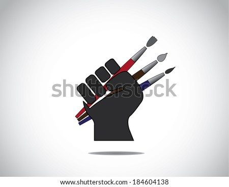 human hand fist holding different colorful paint brushes symbol.  black human hand with folded fingers hold three different colored paintbrushes - art education concept illustration - stock vector