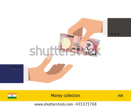 Human hand gives money to another person vector illustration. Indian rupee banknote.  - stock vector