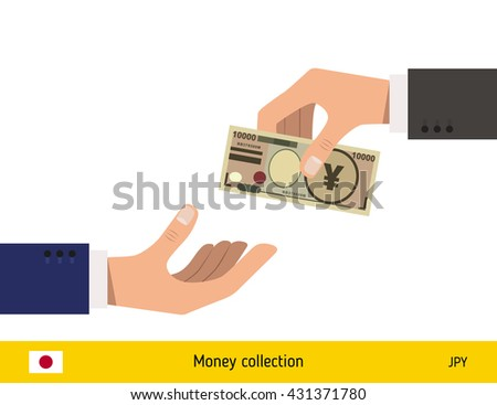 Human hand gives money to another person vector illustration. Japanese yen banknote.