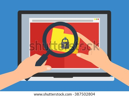 Human hand hold a magnifying glass find rasomware cryptolocker computer virus on laptop notebook on website download file folder. Vector illustration business computer security technology concept. - stock vector