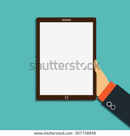Human hand holding a tablet with a white screen. Stock vector image. - stock vector