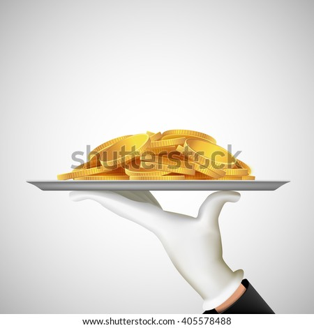 Human hand holding a tray with gold coins. Earnings and dividends. Stock vector illustration. - stock vector