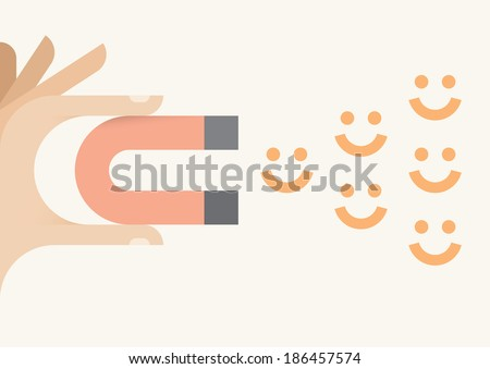 Human hand holding abstract magnet attracting smiles. Happiness and avoiding negativity concept. - stock vector