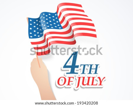 Human hand holding American flag on white background, concept for 4th of July Independence Day celebration. - stock vector