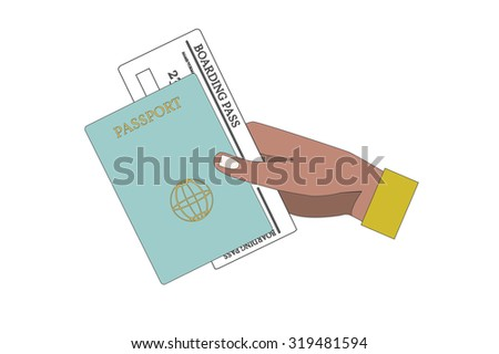 Human Hand Holding Boarding Pass and Passport. Vector Illustration. - stock vector