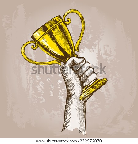 Human hand holding golden champion cup trophy sketch vector illustration - stock vector