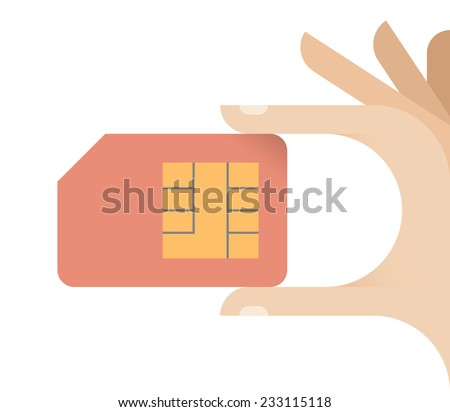 Human hand holding mobile phone Sim card. Idea - Communication and Mobile services concepts. - stock vector