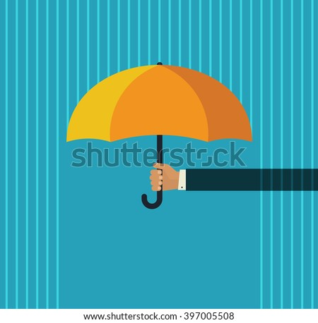 Human hand holding open orange umbrella protecting from abstract pouring rain vector illustration, template for support, protection, modern simple flat cartoon design isolated on blue background  - stock vector