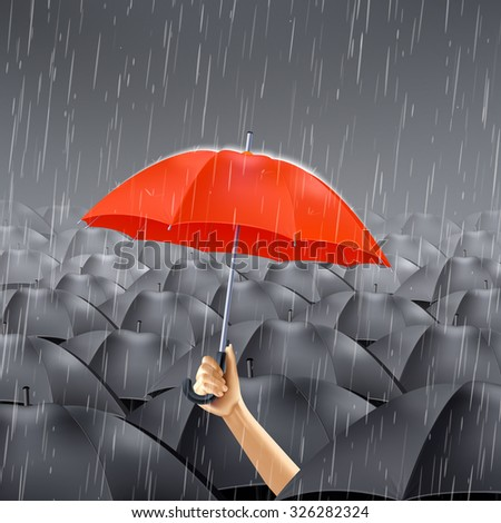 Human hand holding red umbrella under many black umbrellas realistic vector illustration - stock vector