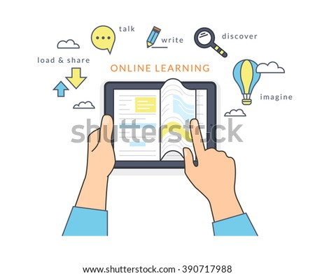 Human hand holds a tablet pc and reading ebook on the screen. Flat line contour illustration of online reading book and learning with symbol such as talk and share, read and imagine - stock vector