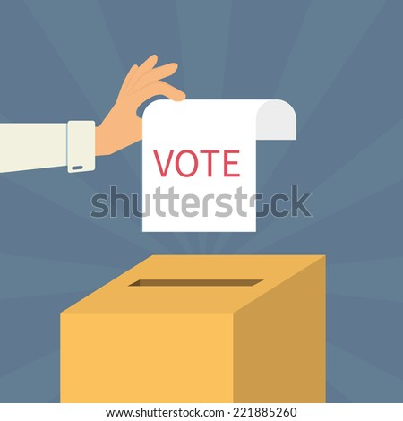 Human hand holds a voting paper over container - stock vector