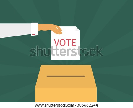Human hand holds a voting paper over container. Text outlined - stock vector