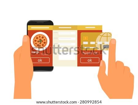 Human hand holds smartphone with mobile app for ordering pizza. Text outlined - stock vector