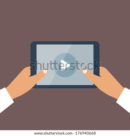Human hand holds tablet pc with opened media player. Vector background