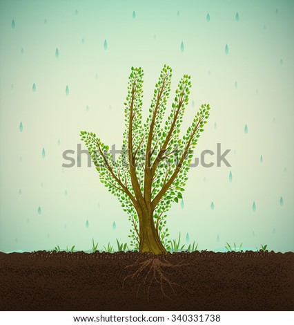 Human hand looks like tree with roots growing on soil under the clean rain, help the tree concept, save the forest idea, vector - stock vector