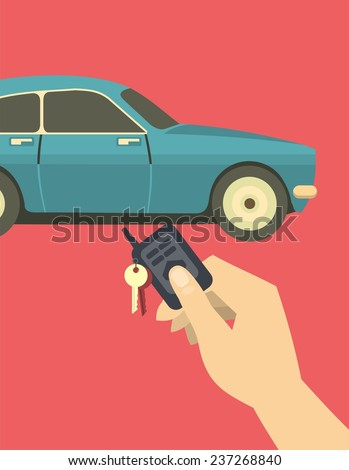 human hand presses the button to enable and disable the car alarm - stock vector