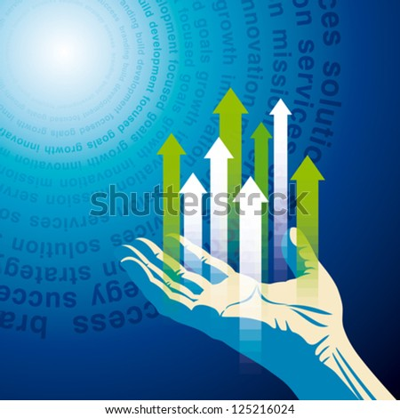 human hand push the business chart - stock vector
