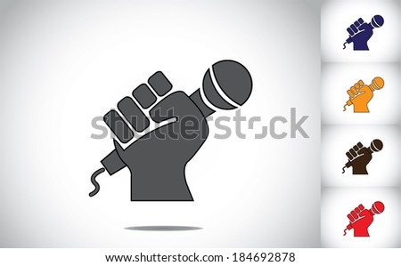 human hand strongly holding mic microphone - karaoke concept - stock vector