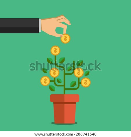 Human hand takes money from dollar coin tree. Illustration in flat design style. Finance business concept for presentation, booklet, website etc. - stock vector