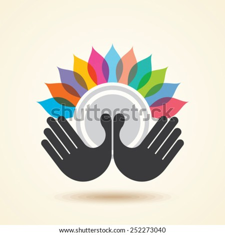 human hand & tree icon with colourful leaves - eco concept vector.  - stock vector