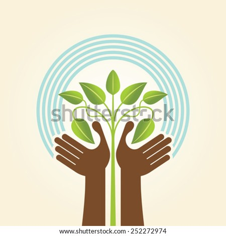 human hand & tree icon with green leaves - eco concept vector.  - stock vector