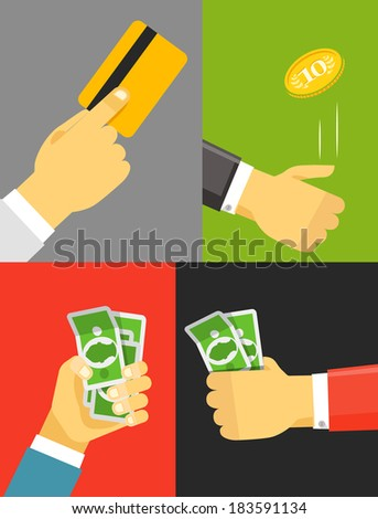 Human hand with cash and golden card - stock vector