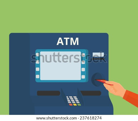 Human hand with credit card getting access to ATM machine - stock vector