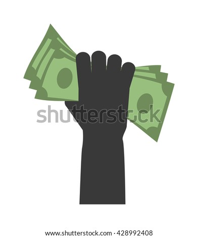 Human hand with dollars money business currency finance investment vector icon. Business money in hand bill money in hand. Paying concept money in hands. Money concept - stock vector