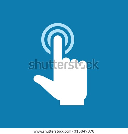 Human hand with finger touch to screen - icon sign. Surface display. Design element.  - stock vector