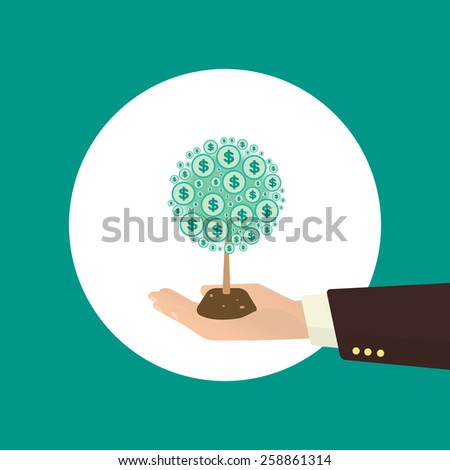 Human hand with money tree. Investment concept illustration