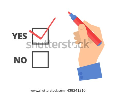 Human hand write yes vote with pen on a voting paper. Flat concept illustration of man's hand, red pen, ballot paper, check sign. Isolated vector infographic element for web, presentation, brochures. - stock vector