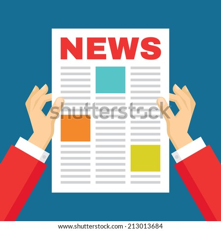 Human hands and newspaper - vector concept illustration in flat style design. Creative banner.  - stock vector
