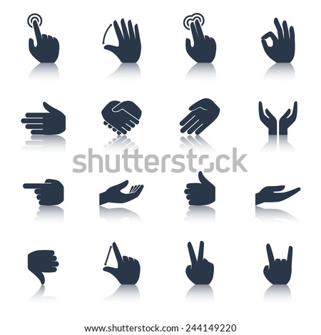 Human hands applause tap helping action gestures icons black set isolated vector illustration - stock vector