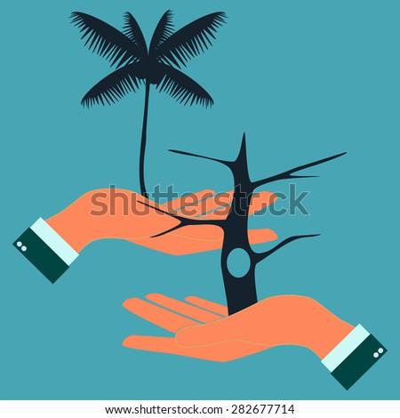human hands care tree, element eco design - stock vector