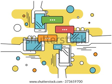 Human hands hold a smartphone and sending messages to friends via messenger app. Flat line contour illustration of chatting via smartphone app