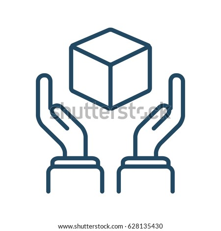 human hands holding cube vector icon stock vector 2018 628135430 rh shutterstock com vector-borne meaning medical
