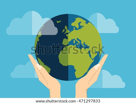 Human hands holding globe on it environmental care and social responsibility flat poster vector illustration