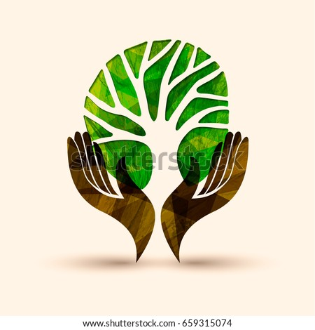 Isolated Diversity Tree Hands Illustration Vector Stock