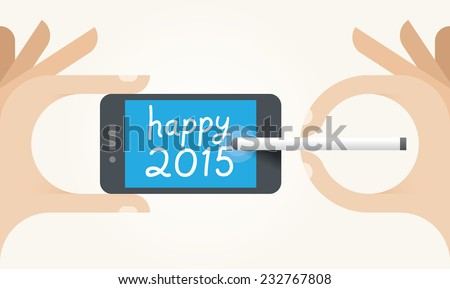 Human hands holding mobile and writing Happy 2015 SMS message on screen. Idea - New Year 2015 celebration and mobile technologies for New Year Eve congratulations. - stock vector