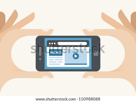 Human hands holding mobile phone with News internet site in the browser window - stock vector