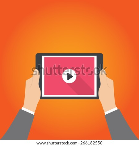 Human hands holding tablet computer with video player on the screen. Idea - Mobile collection of films, Cloud technologies for video collection. - stock vector