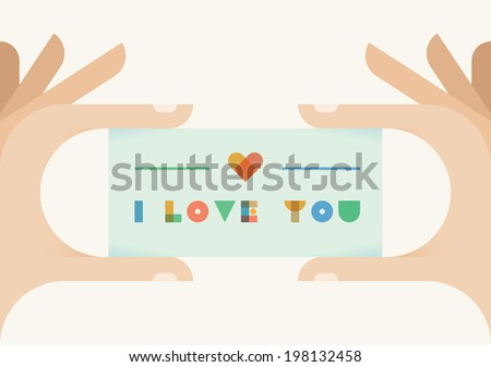 Human hands holding vintage style card with I love you text and heart. Idea - Valentine's day card, Love at first sight, Marriage proposal - stock vector