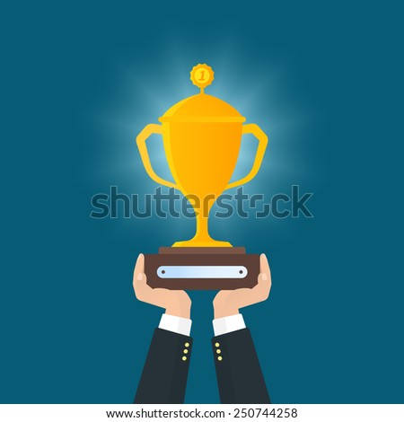 Human hands holds reward. Flat vector illustration - stock vector
