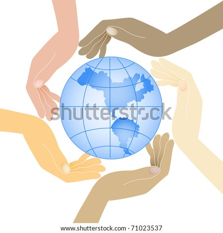 human hands in different colors hold the planet - stock vector