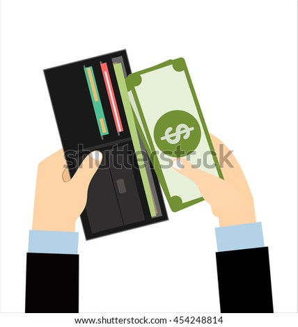 Human hands putting cash dollars into opened black leather men wallet with credit cards. vector illustration in flat design