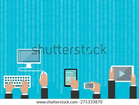 Human hands with devices on light blue background with binary digits pattern, for communication and technology design - stock vector