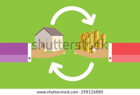 Human Hands with Dollar Money and House. Flat style concept design illustration. Real estate concept vector illustration. money exchange home. infographics. green background - stock vector