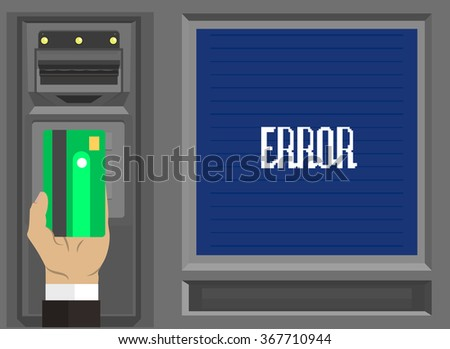 Human Hands with Plastic Card and Dollar - ATM Concept - Business Trend Illustration in Flat Design Style for presentation, booklet, web site etc.