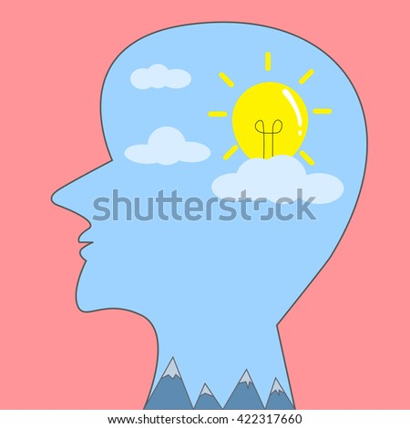 Human have bulb in head - stock vector