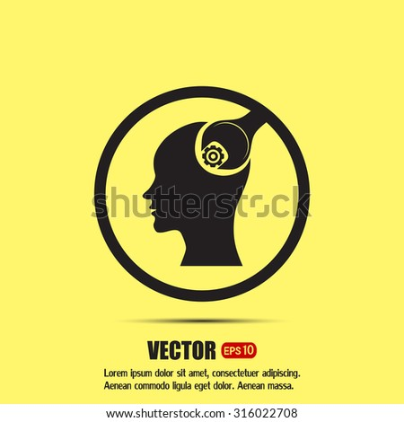 human head and a wrench with a nut - stock vector